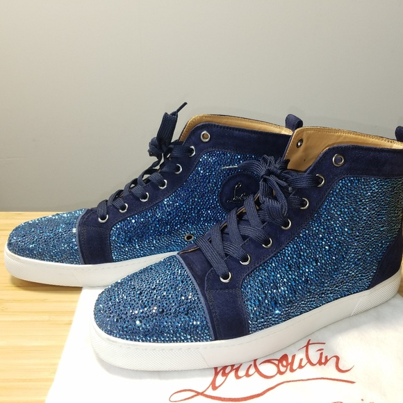 on sale 3d359 a5c1a Christian Louboutin Louis Strass High Top Sneakers